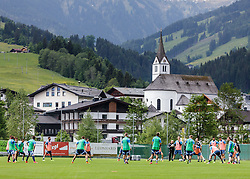 03.06.2015, Steinbergstadion, Leogang, AUT, U 21 EM, Vorbereitung Deutschland, im Bild Übersicht des Trainings mit Leogang ud seiner Kirche // during Trainingscamp of Team Germany for Preparation of the UEFA European Under 21 Championship at the Steinbergstadium in Leogang, Austria on 2015/06/03. EXPA Pictures © 2015, PhotoCredit: EXPA/ JFK