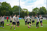 Ajax defender Daley Blind (17) and Ajax players during the Ajax training session ahead of the Champions League 2nd leg semi-final against Tottenham Hotspur at the Sportpark De Toekomst, Amsterdam, Netherlands on 7 May 2019.