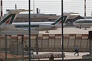 """Rome, Italy 30/04/2004: airplane of the Italian airline company """"Alitalia"""", Fiumicino Airport """"Leonardo da Vinci"""".©Andrea Sabbadini"""