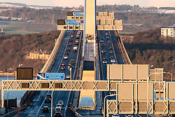 View of new Queensferry Crossing bridge spanning the River Forth at South Queensferry, Scotland, United Kingdom.