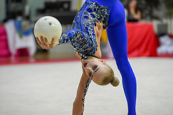 July 28, 2018 - Chieti, Abruzzo, Italy - Rhythmic gymnast Olena Diachenko of Ukraine performs her ball routine during the Rhythmic Gymnastics pre World Championship Italy-Ukraine-Germany at Palatricalle on 29th of July 2018 in Chieti Italy. (Credit Image: © Franco Romano/NurPhoto via ZUMA Press)