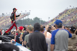 June 10, 2018 - Brooklyn, Michigan, United States of America - Jamie McMurray (1) waits for the start of the FireKeepers Casino 400 during a weather delay at Michigan International Speedway in Brooklyn, Michigan. (Credit Image: © Stephen A. Arce/ASP via ZUMA Wire)