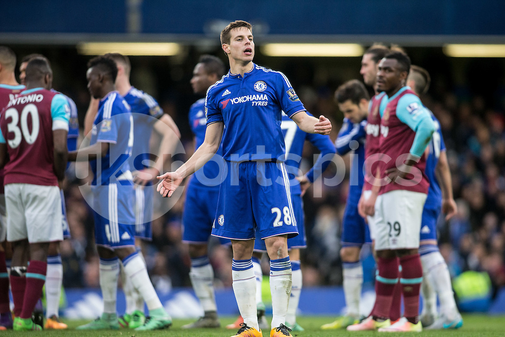 César Azpilicueta of Chelsea shows his indignation  during the Barclays Premier League match between Chelsea and West Ham United at Stamford Bridge, London, England on 19 March 2016. Photo by Steve Ball.