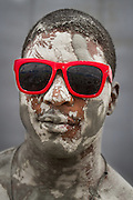 Caked in mud at the Boryeong Mud Festival.<br />