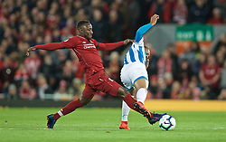 LIVERPOOL, ENGLAND - Friday, April 26, 2019: Liverpool's Naby Keita (R) and Huddersfield Town's Juninho Bacuna during the FA Premier League match between Liverpool FC and Huddersfield Town AFC at Anfield. (Pic by David Rawcliffe/Propaganda)