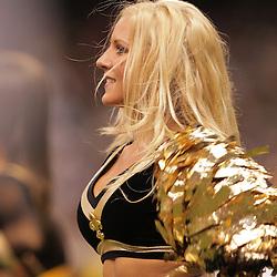 2008 October, 12: New Orleans Saints cheerleaders perform during a week six regular season game between the Oakland Raiders and the New Orleans Saints at the Louisiana Superdome in New Orleans, LA.