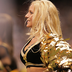2008 October, 12: New Orleans Saints cheerleaders perform during a week six regular season game between the Oakland Raiders and the New Orleans Saints at the Louisiana Superdome in New Orleans, LA.