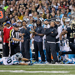 Dec 6, 2015; New Orleans, LA, USA; New Orleans Saints wide receiver Brandon Coleman (16) runs past Carolina Panthers free safety Kurt Coleman (20) during the first half of a game at Mercedes-Benz Superdome. Mandatory Credit: Derick E. Hingle-USA TODAY Sports