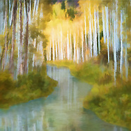 Painterly landscape view of a river flowing through and reflecting an aspen grove in fall foliage in warm yellow and green tones