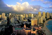 Image of Waikiki Beach and resorts along the coastline, Honolulu, Oahu, Hawaii. For editorial captioning, please acknowledge the view from the Sheraton Waikiki Hotel.