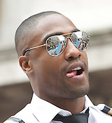LGBT Pride Parade <br /> in Central London, Great Britain <br /> 2nd July 2011 <br /> <br /> Pride 2011 <br /> <br /> colour and atmosphere, floats, audience, people marching, and entertainment in Trafalgar Square. <br /> <br /> Simon Webbe<br /> of BLUE<br /> <br /> <br /> <br /> Photograph by Elliott Franks