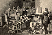 Baby incubators in use at the Port-Royal Maternity Hospital, Paris, France, which was under the direction of Etienne (Stepahne) Tarnier (1828-1897), French obstetrician.  Engraving from 'The Illustrated London News' (London, 8 March 1884).