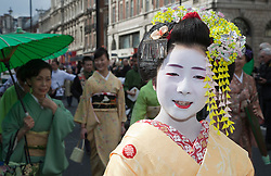 "© Licensed to London News Pictures. 18/03/2012. London, England. ""Japan Next"" campaign expressing their gratitude for the world's support for the Great East Japan Earthquake and Tsunami during the St. Patrick's Day Parade. London celebrates St. Patrick's Day with a parade and festival. Photo credit: Bettina Strenske/LNP"