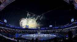February 25, 2018 - Pyeongchang, KOR - Fireworks at Pyeongchang Olympic Stadium during the Closing Ceremony of the 2018 Pyeongchang Winter Olympics on Sunday, February 25, 2018 in South Korea. (Credit Image: © Carlos Gonzalez/TNS via ZUMA Wire)