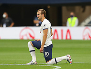 Harry Kane of Tottenham takes the knee during the Premier League match at the Tottenham Hotspur Stadium, London. Picture date: 23rd June 2020. Picture credit should read: David Klein/Sportimage