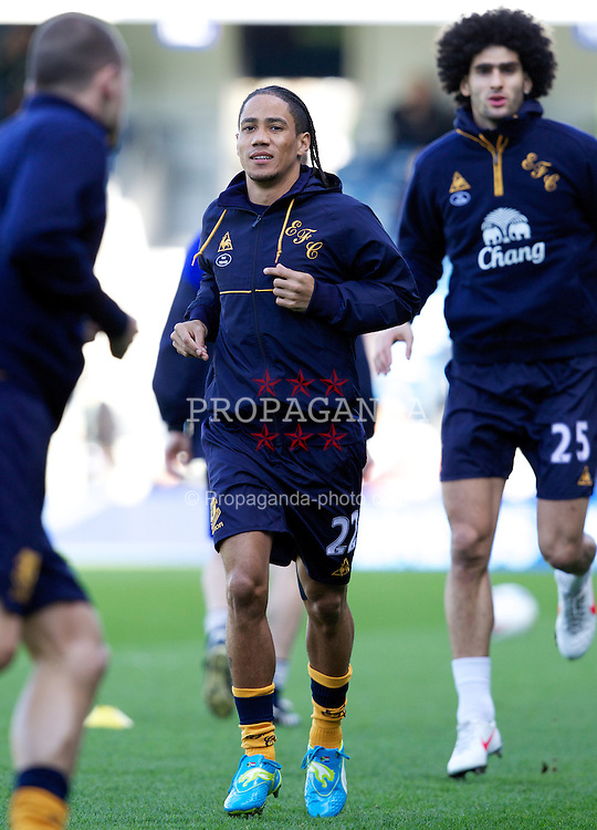 LONDON, ENGLAND - Saturday, March 3, 2012: Everton's Steven Pienaar warms-up before the Premiership match against Queens Park Rangers at Loftus Road. (Pic by Vegard Grott/Propaganda)