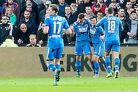ROTTERDAM - Feyenoord - AZ , Voetbal , Eredivisie, Seizoen 2015/2016 , Stadion de Kuip , 25-10-2015 , AZ speler Joris van Overeem (2e r) scoort de gelijkmaker 1-1 en krijgt felicitaties van zijn ploeggenoten