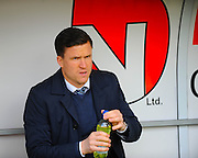 Gary Caldwell Wigan Athletics Manager  during the Sky Bet League 1 match between Doncaster Rovers and Wigan Athletic at the Keepmoat Stadium, Doncaster, England on 16 April 2016. Photo by Stephen Connor.