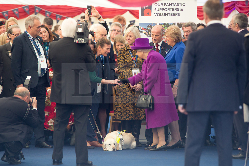 @Licensed to London News Pictures 06/11/2019. Aylesford, Kent. Her Majesty The Queen arrives to mark the Royal British Legion Industries' centenary at  Appleton Lodge in Aylesford, near Maidstone in Kent today. The new care home is part of the £22m Centenary Village development offering new luxury care facility for veterans and their famillies. Photo credit: Manu Palomeque/LNP