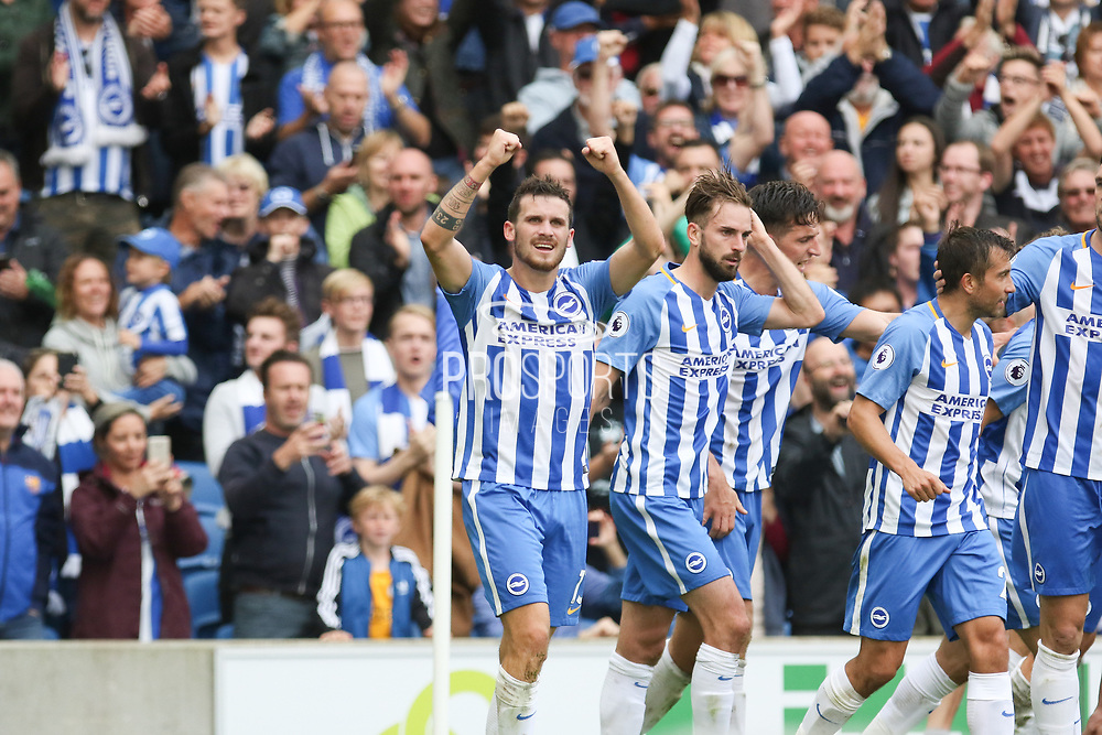 Brighton and Hove Albion midfielder Pascal Gross (13) celebrates his goal 1-0 during the Premier League match between Brighton and Hove Albion and West Bromwich Albion at the American Express Community Stadium, Brighton and Hove, England on 9 September 2017. Photo by Phil Duncan.