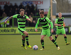 Forest Green Rovers's James Norwood and Forest Green Rovers's Elliott Frear chase the ball down - Photo mandatory by-line: Nizaam Jones - Mobile: 07966 386802 - 21/02/2015 - SPORT - Football - Nailsworth - The New Lawn - Forest Green Rovers v AFC Telford - Vanarama Football Conference