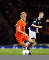 Football<br /> 09/09/2009 <br /> SCOTLAND V NETHERLANDS: <br /> DIRK KUYT (NED) IN ACTION  DURING THE 2010 WORLD CUP QUALIFIER AT HAMPDEN PARK, GLASGOW.<br /> CREDIT: COLORSPORT