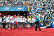 Danish Special Olympics Team during opening ceremony of the Special Olympics World Games Los Angeles 2015 at the Los Angeles Coliseum Stadium on July 25, 2015 in Los Angeles, USA.<br /> USA, Los Angeles, July 25, 2015<br /> <br /> Picture also available in RAW (NEF) or TIFF format on special request.<br /> <br /> For editorial use only. Any commercial or promotional use requires permission.<br /> <br /> Adam Nurkiewicz declares that he has no rights to the image of people at the photographs of his authorship.<br /> <br /> Mandatory credit:<br /> Photo by © Adam Nurkiewicz / Mediasport