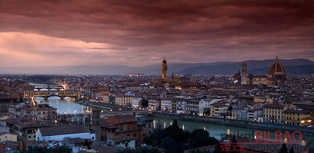 Florence and Arno river at sunset.<br /> Tuscany region, Italy