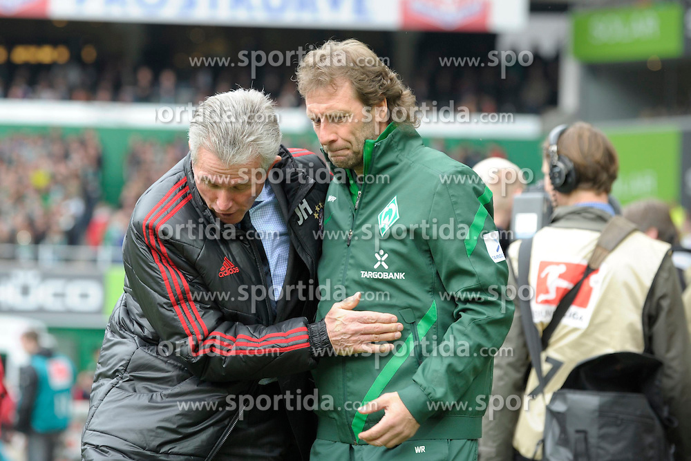 21.04.2012, Weserstadion, Bremen, GER, 1. FBL, SV Werder Bremen vs FC Bayern Muenchen, 32. Spieltag, im Bild Jupp HEYNCKES, Trainer FC Bayern Muenchen, links, stolpert, waehrend er Wolfgang ROLFF, Co-Trainer von Werder Bremen, rechts, begruesst. // during the German Bundesliga Match, 32th Round between SV Werder Bremen and Fc Bayner Munich at the Weserstadium, Bremen, Germany on 2012/04/21. EXPA Pictures © 2012, PhotoCredit: EXPA/ Eibner/ Stefan Schmidbauer..***** ATTENTION - OUT OF GER *****