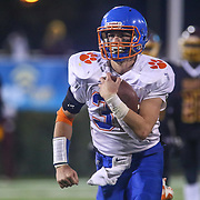 Delmar running back CARSON PHILLIPS (32) rushes towards the end zone before the end of the half of a DIAA Division II state championship game between the Delmar and Milford Saturday, Dec. 02, 2017 at Delaware Stadium in Newark, DE.