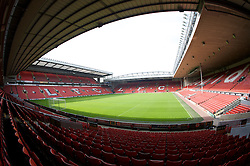 The view of the Anfield pitch from the Anfield Road Lower Stand, centre of Block 122.