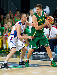 Dusko Savanovic of Serbia vs Linas Kleiza of Lithuania during the third-place basketball match between National teams of Serbia and Lithuania at 2010 FIBA World Championships on September 12, 2010 at the Sinan Erdem Dome in Istanbul, Turkey. Lithuania defeated Serbia 99 - 88 and win placed third.  (Photo By Vid Ponikvar / Sportida.com)