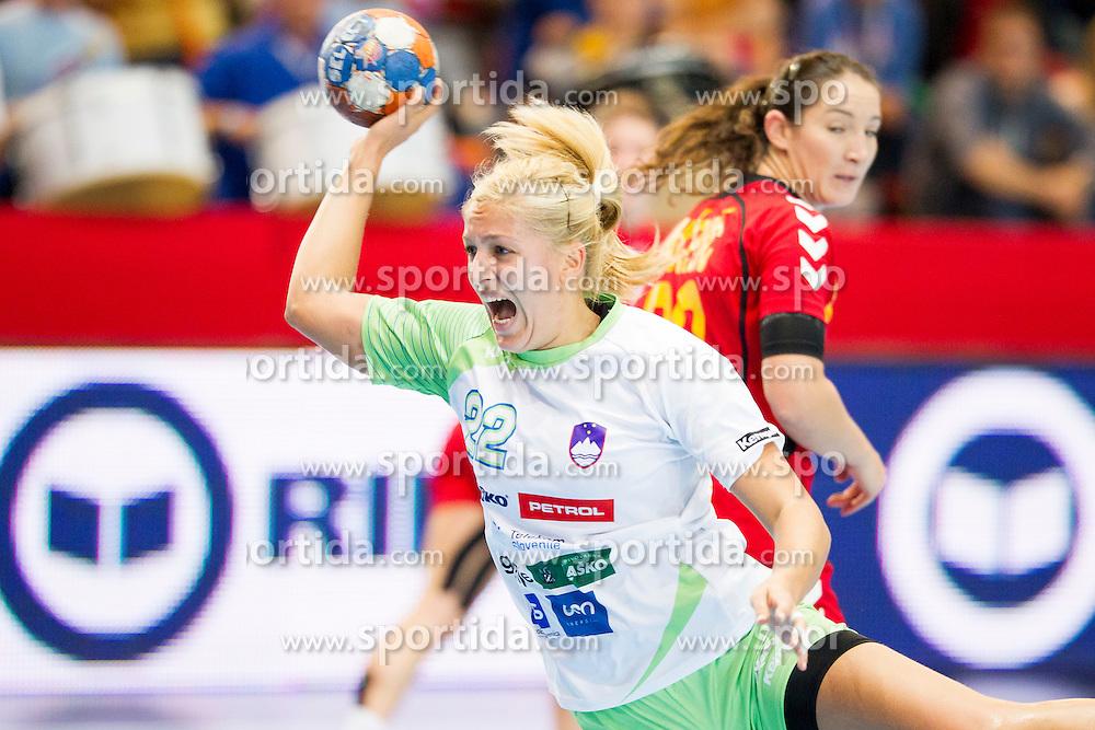 Sanja Gregorc of Slovenia during handball match between Women National Teams of Slovenia and Montenegro in 2016 Women's European Championship Qualification, on October 11, 2015 in Arena Kodeljevo, Ljubljana, Slovenia. Photo by Urban Urbanc / Sportida