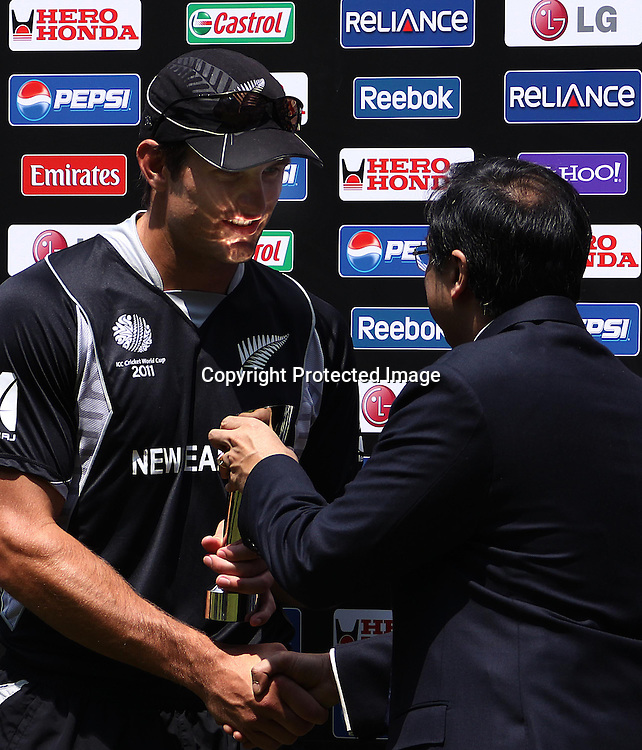 Man of the match Hamish Bennett. ICC Cricket World Cup 2011, New Zealand v Kenya at M. A. Chidambaram Stadium, February 20, 2011. Chennai, India. Photo: photosport.co.nz