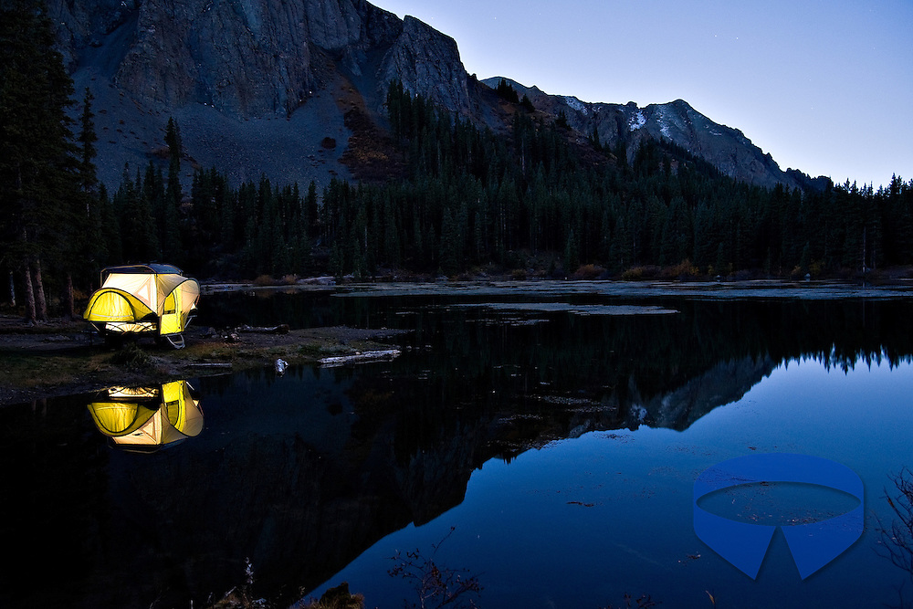 SylvanSport GO camper trailer set up at Alta Lakes near Telluride, Colorado.