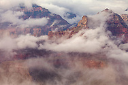 Overlooking (Vishnu) clouds in the Grand Canyon as they eventually climb up and over the rim to totally engulf the canyon.