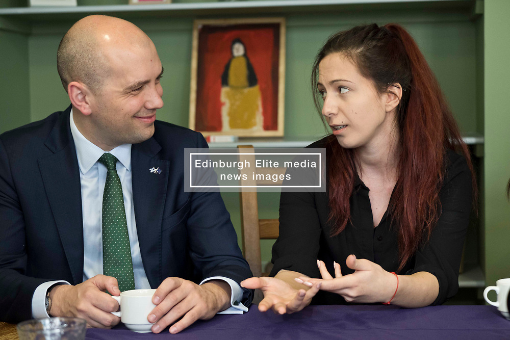 Pictured: Ben Macpherson and Zlatina Peeva from Bulgaria<br /> <br /> Migration minister Ben Macpherson visited social care provider Carr Gomm in Edinburgh today where he discussed with staff how proposed new UK immigration rules will hamper the recruitment of health and social care workers from outside the UK and Ireland. <br /> <br /> <br /> Ger Harley   EEm 21 March 2019