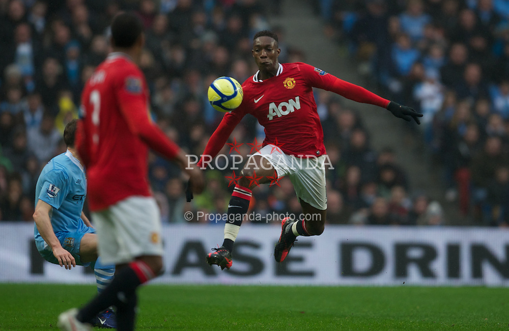 MANCHESTER, ENGLAND - Sunday, January 8, 2012: Manchester United's Danny Welbeck in action against Manchester City during the FA Cup 3rd Round match at the City of Manchester Stadium. (Pic by David Rawcliffe/Propaganda)