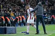 Kylian Mbappe (PSG) left the game without goal scored, Thomas TUCHEL (PSG) during the UEFA Champions League, Group A football match between Paris Saint-Germain and Club Brugge on November 6, 2019 at Parc des Princes stadium in Paris, France - Photo Stephane Allaman / ProSportsImages / DPPI