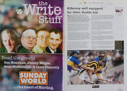 All Ireland Senior Hurling Championship - Final,.14092003AISHCF,.14.09.2003, 09.14.2003, 9th September 2003,.Senior Kilkenny 1-14, Cork 1-11,.Minor Kilkenny 2-16, Galway 2-15,.Sunday World,