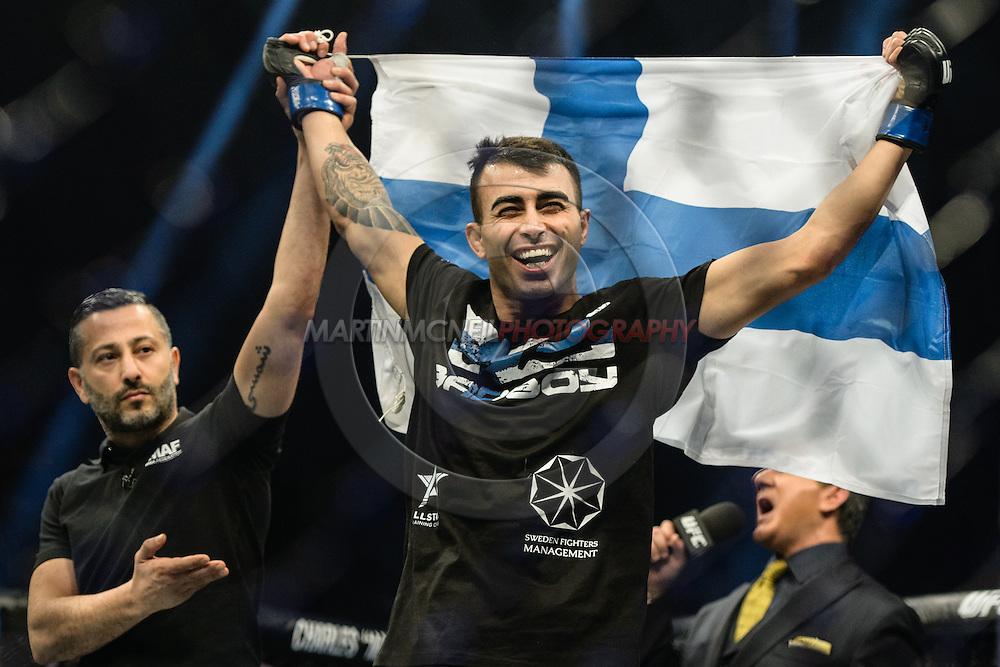 "STOCKHOLM, SWEDEN, JANUARY 24, 2015: Makwan Amirkhani during ""UFC on Fox 14: Gustafsson vs. Johnson"" inside Tele2 Arena in Stockholm, Sweden"