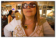 A female Elvis Presley impersonator in the Elvis Inn on the day when fans all over the world remember the day Elvis Presley died. Jerusalem, Israel, 2007