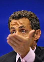 Nicolas Sarkozy, president of France, speaks during a news conference following the first day of the European Summit, in Brussels, Belgium on Wednesday, Oct. 15, 2008.  (Photo © Jock Fistick)