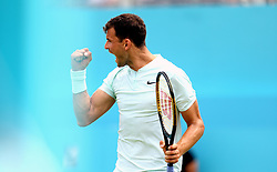 Bulgaria's Grigor Dimitrov celebrates his win over Bosnia and Herzegovina's Damir Dzumhur during day two of the Fever-Tree Championship at the Queens Club, London.