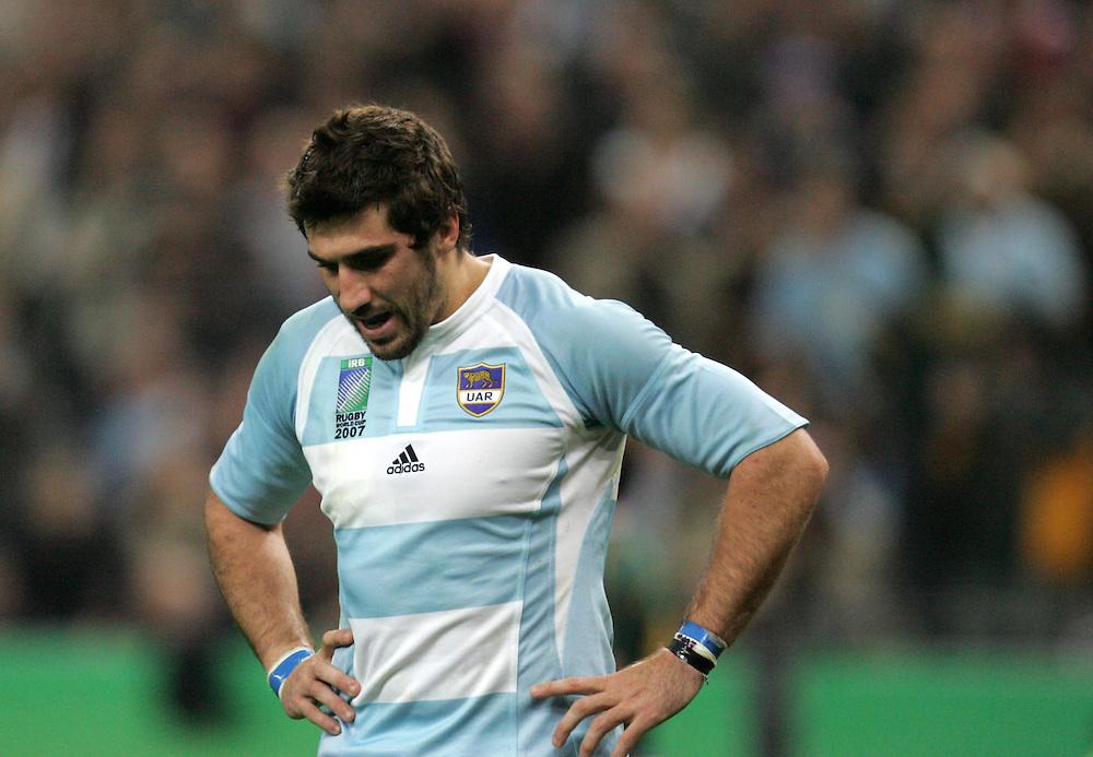 A dejected Juan Martin Fernandez Lobbe of Argentina. South Africa v Argentina, Semi Final, IRB Rugby World Cup 2007, Stade De France, St Denis, France, 14th October 2007.