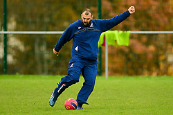 Michael Cheika plays football with the coaching staff before the session starts - Ryan Hiscott/JMP - 08/11/2018 - RUGBY - Llanwern High School - Newport, Wales - Australia Rugby Training Session