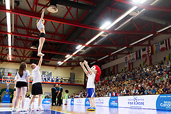 Cheerleading group Frogs during basketball match between National teams of Turkey and Slovenia in Qualifying Round of U20 Men European Championship Slovenia 2012, on July 17, 2012 in Domzale, Slovenia. (Photo by Vid Ponikvar / Sportida.com)