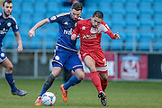 Barney Williams (Welling United) steps across to halt a Halifax attack during the Vanarama National League match between FC Halifax Town and Welling United at the Shay, Halifax, United Kingdom on 30 January 2016. Photo by Mark P Doherty.