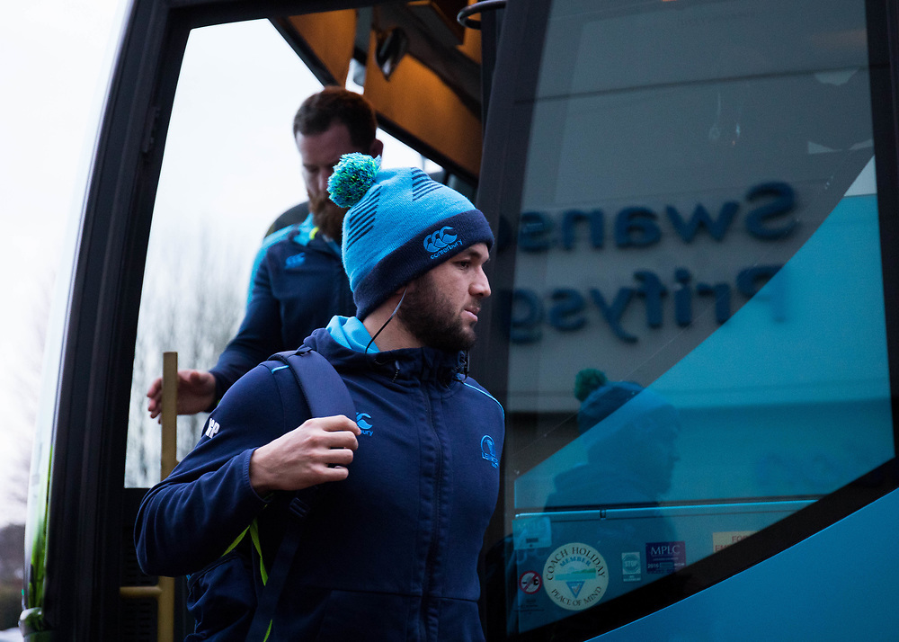 Leinster's Jamison Gibson-Park arrives at the stadium<br /> <br /> Photographer Simon King/Replay Images<br /> <br /> Guinness PRO14 Round 19 - Ospreys v Leinster - Saturday 24th March 2018 - Liberty Stadium - Swansea<br /> <br /> World Copyright © Replay Images . All rights reserved. info@replayimages.co.uk - http://replayimages.co.uk