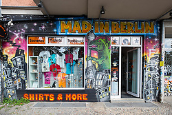 "Shop ""Mad in Berlin"" selling Berlin related products and souvenirs  in bohemian Friedrichshain in Berlin Germany"
